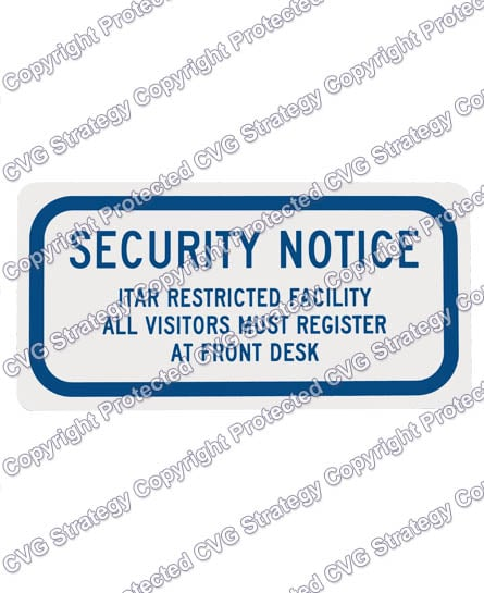 ITAR Sign for Glass Doors and Windows Rear Adhesive