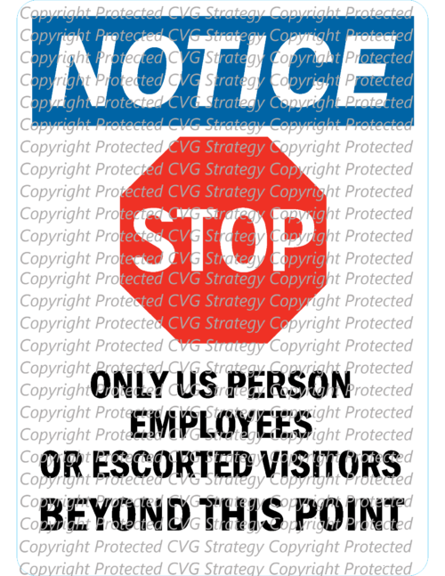 ITAR Warning Security Notice Sign